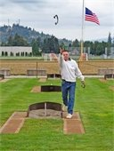 Tossing horseshoes at Skagit RIver Park, Burlington