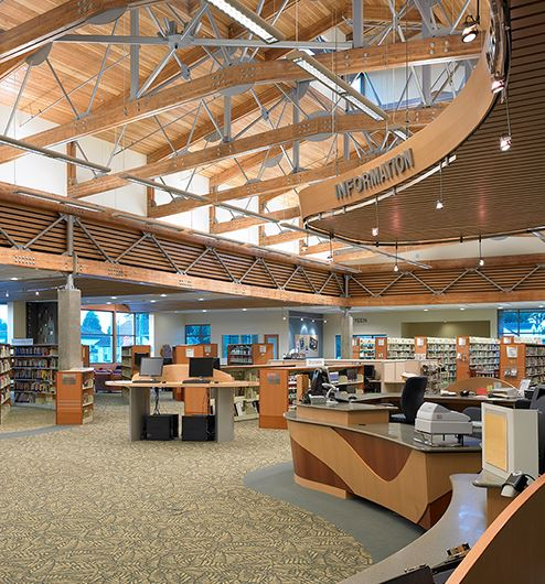 Interior library area near info desk