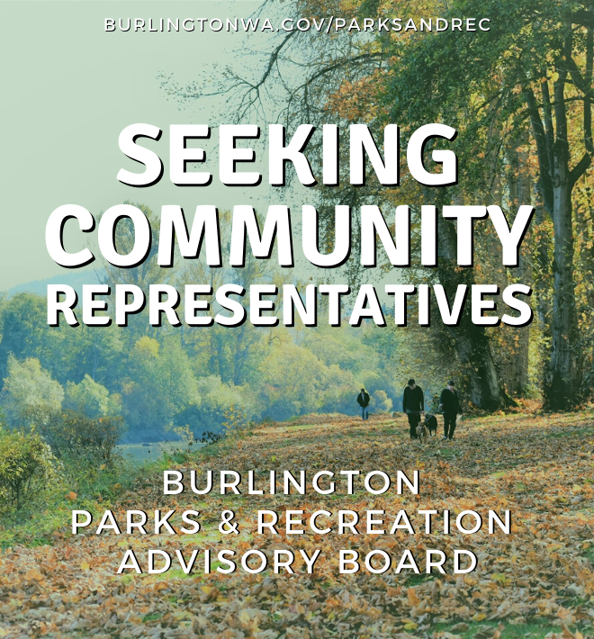 Walking trail in the fall with text saying Seeking Community Representatives